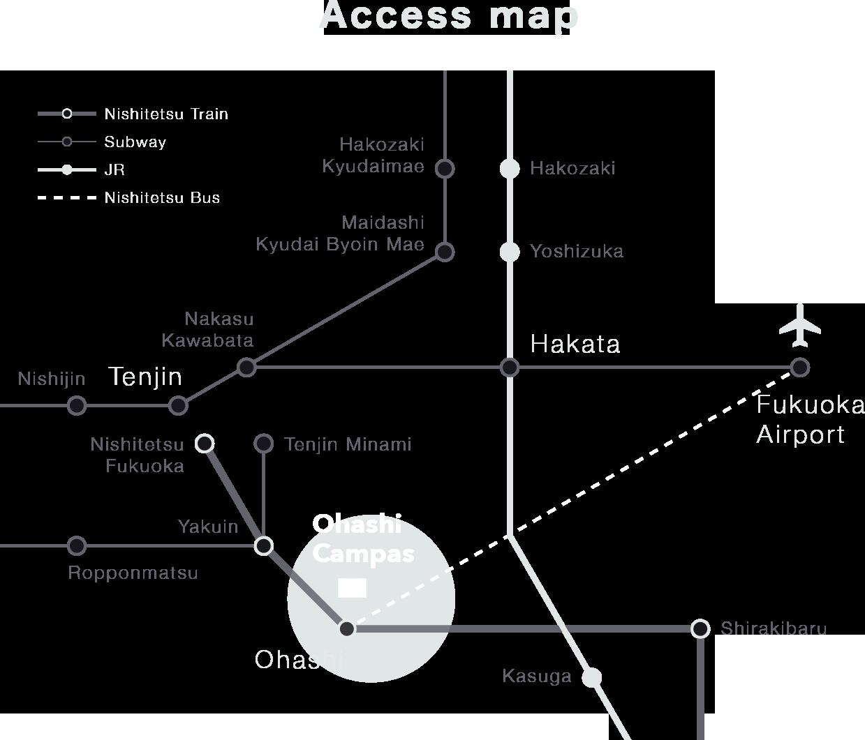 福岡空港、博多駅、天神からのアクセスマップ