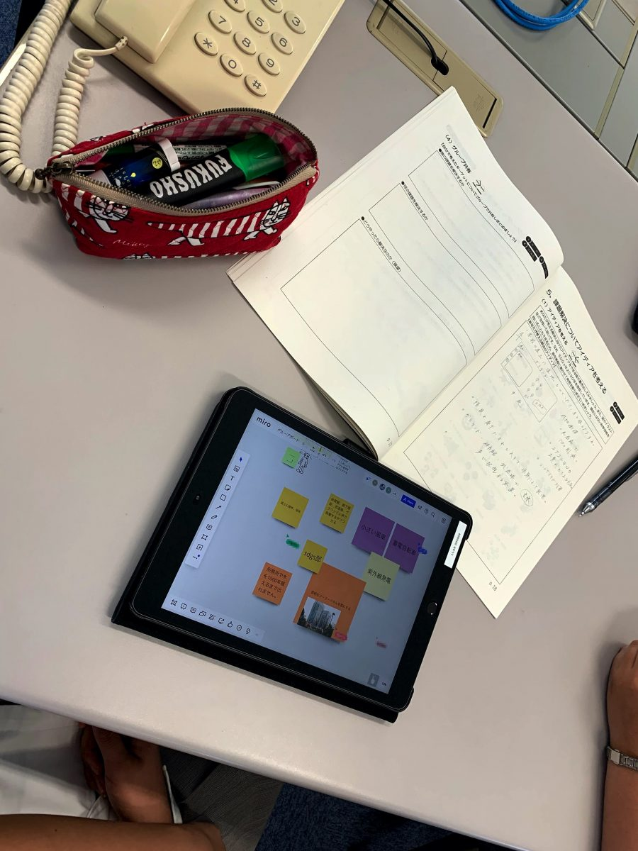 Tablets and worksheets being used